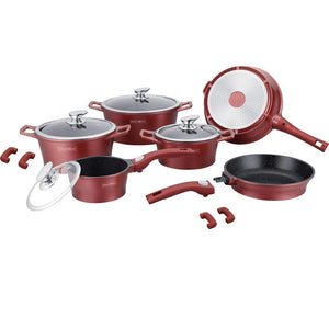 Royalty Line 14-piece Ceramic Coating Cookware Set - Burgundy