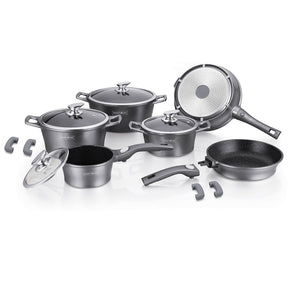Royalty Line 14-piece Marble Coating Cookware Set - Silver