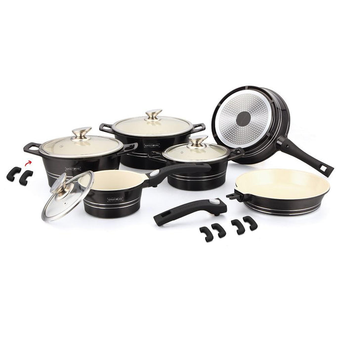 Royalty Line 16 Piece Ceramic Coating Cookware Set - Black