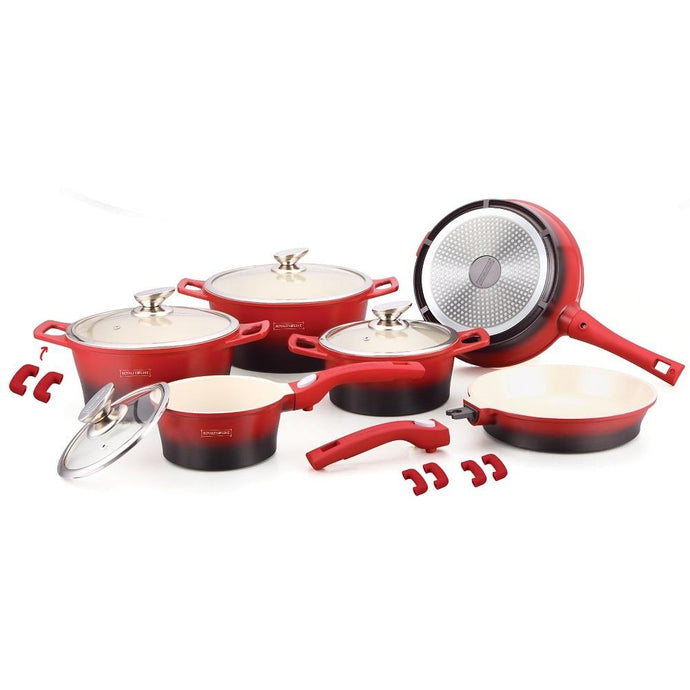 Royalty Line 16 Piece Ceramic Coating Cookware Set - Red & Black