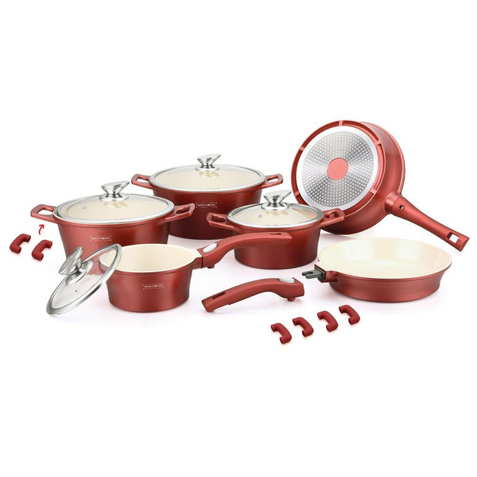Royalty Line 16 Piece Ceramic Coating Cookware Set - Burgundy