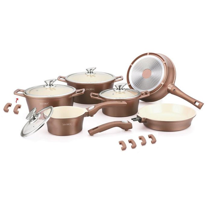 Royalty Line 16 Piece Ceramic Coating Cookware Set - Copper