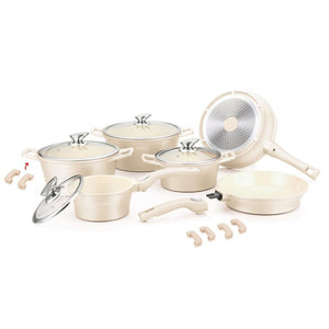 Royalty Line 16 Piece Ceramic Coating Cookware Set - Cream