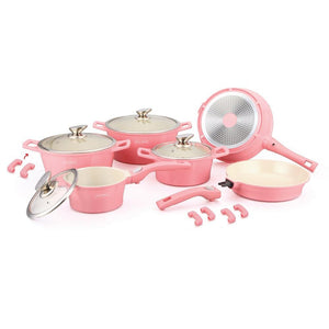 Royalty Line 16 Piece Ceramic Coating Cookware Set - Pink
