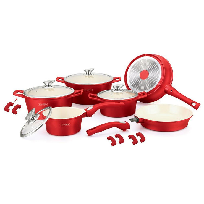 Royalty Line 16 Piece Ceramic Coating Cookware Set - Red