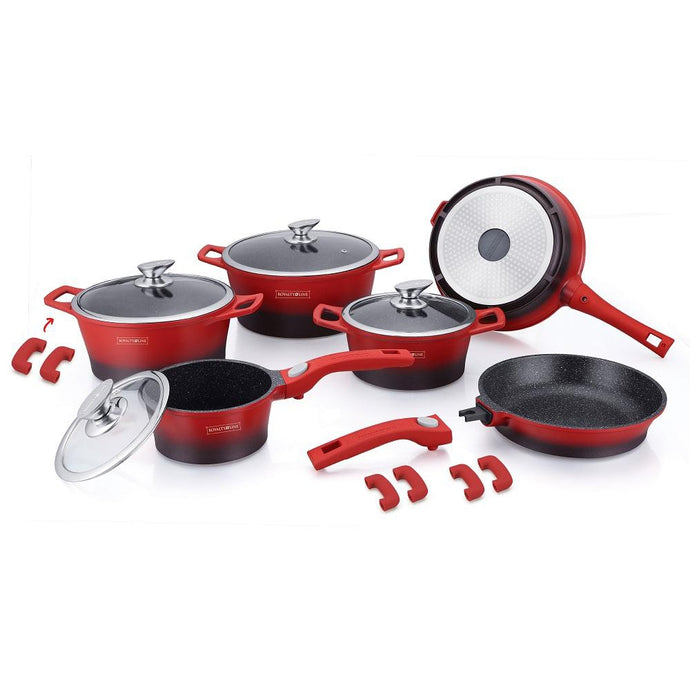Royalty Line 16 Piece Marble Coating Cookware Set - Black & Red