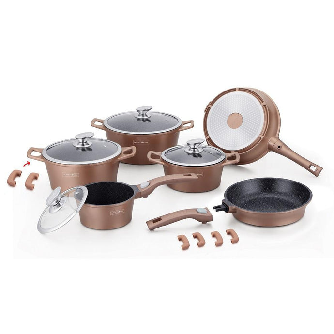 Royalty Line 16 Piece Marble Coating Cookware Set - Copper