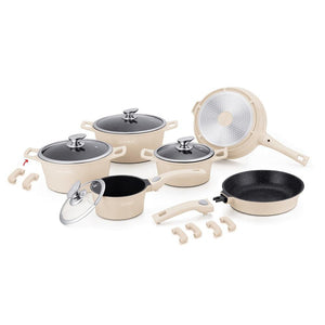 Royalty Line 16 Piece Marble Coating Cookware Set - Cream