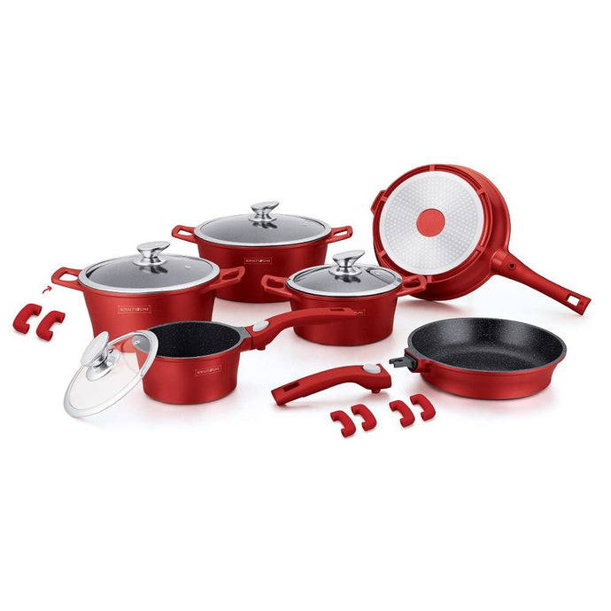 Royalty Line 16 Piece Marble Coating Cookware Set - Red