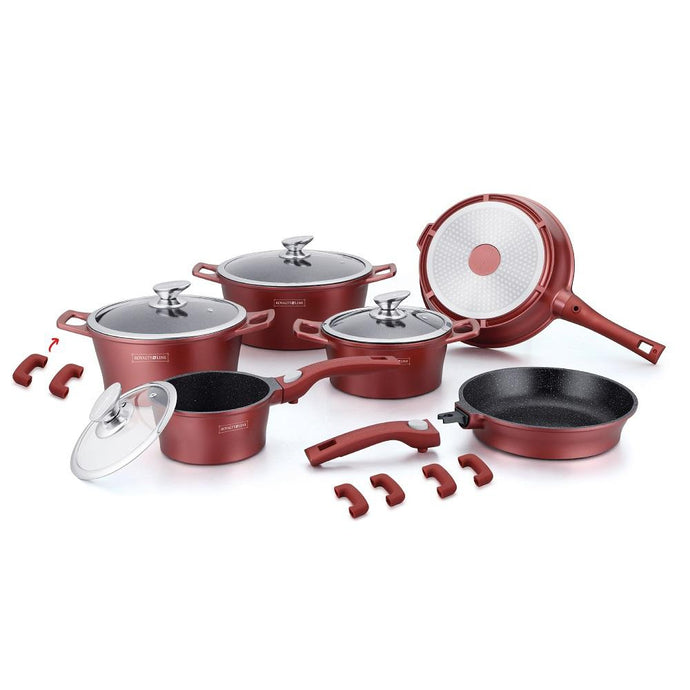 Royalty Line 16 Piece Marble Coating Cookware Set - Burgundy