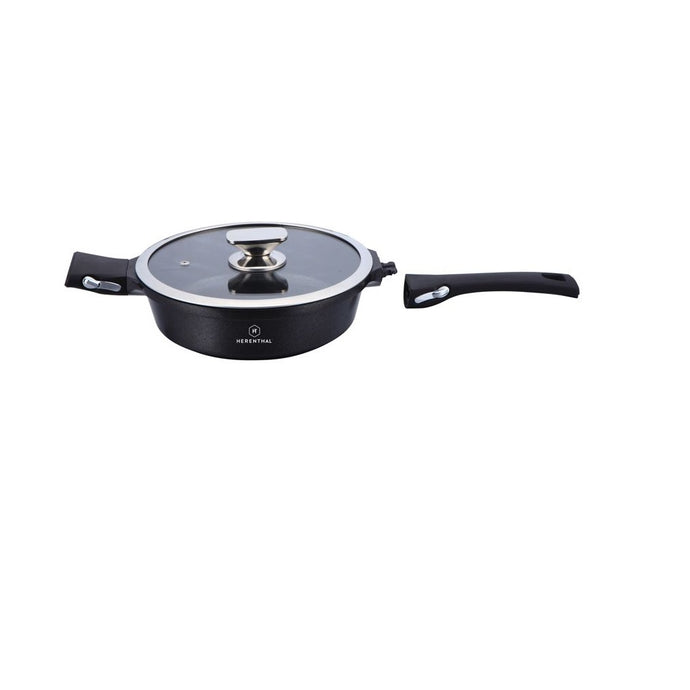Herenthal 24cm Marble Coating Deep Frypan - Black