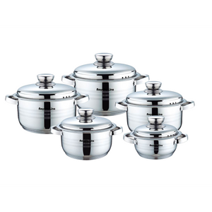 Royalty Line 10 Piece Stainless Steel Cookware Set with Metal Lids