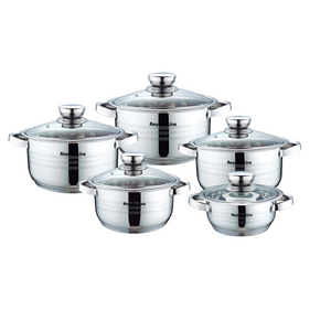 Royalty Line 10 Piece Stainless Steel Cookware Set with Glass Lids
