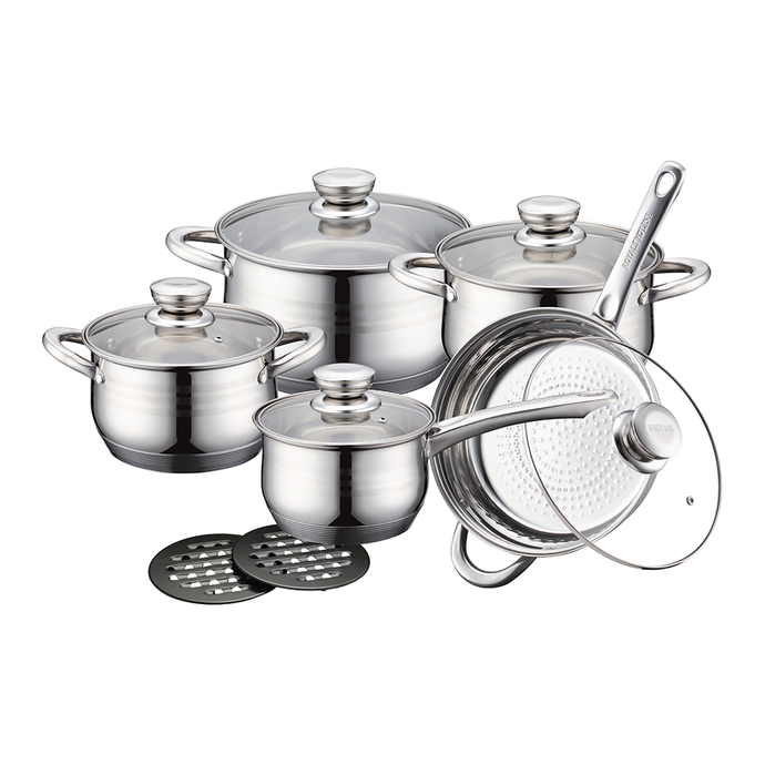 Royalty Line 12 Piece Stainless Steel Cookware Set with Glass Lids