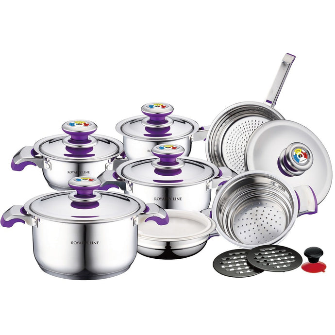 Royalty Line 16-Piece Stainless Steel Cookware set - Purple