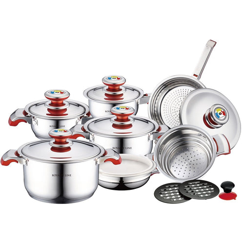 Royalty Line 16-Piece Stainless Steel Cookware Set - Red