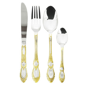 Royalty Line 72 Piece Mirror Finish Cutlery Set - Old Dutch Gold Style (g2)