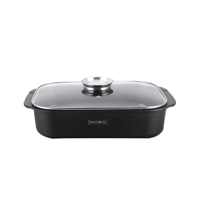 Royalty Line 34cm Marble Coating Roasting Pan - Black