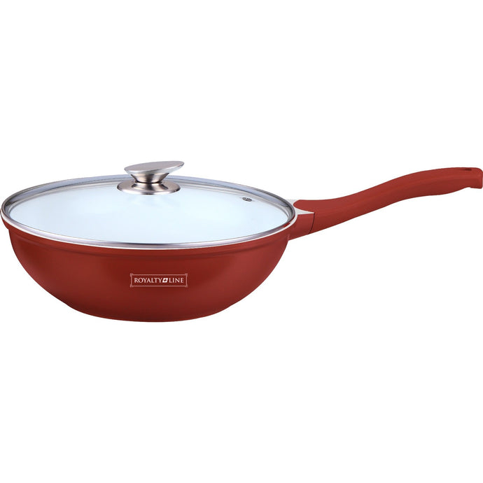 Royalty Line 28cm Ceramic Coating Wok - Burgundy