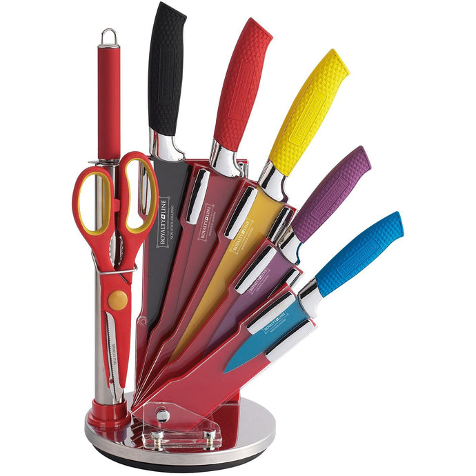 Royalty Line 8 Piece Non-Stick Coating Knife Set with Stand