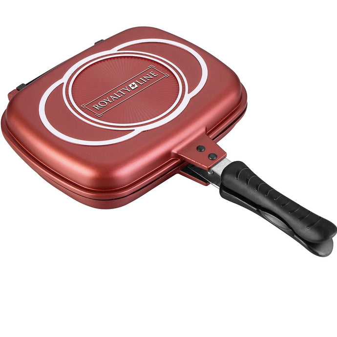 Royalty Line 32cm Marble Coating Double Fry And Grill Pan - Burgundy