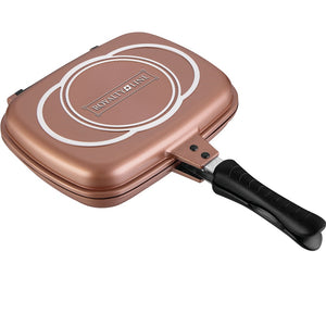 Royalty Line 28cm Marble Coating Double Fry And Grill Pan - Copper