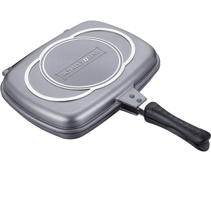 Royalty Line 34cm Marble Coating Double Fry And Grill Pan - Silver