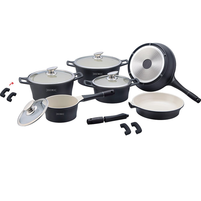 Royalty Line 14-piece Ceramic Coating Cookware Set - Black