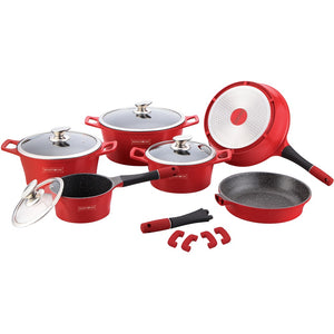 Royalty Line 14-piece Marble Coating Cookware Set - Red