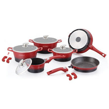 Royalty Line 14-piece Marble Coating Cookware Set - Black & Red