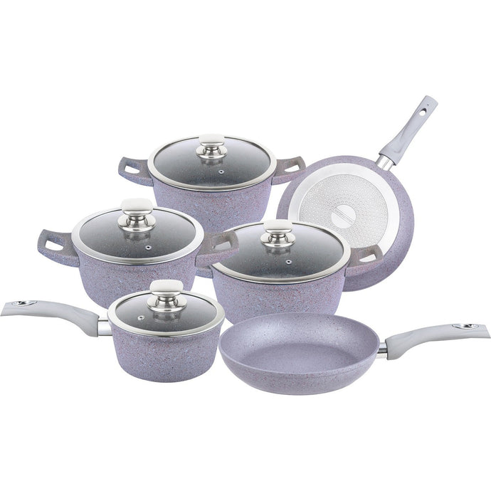 Royalty Line 10-Piece Marble Coating Cookware Set -RL-FC14L - Silver