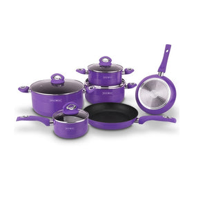 Royalty Line 10-Piece Marble Coating Cookware Set - Purple