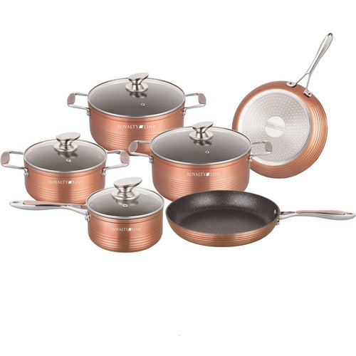 Royalty Line 10-piece Marble Coating Cookware set - Copper