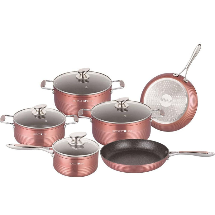 Royalty Line 10-Piece Marble Coating Cookware Set - Burgundy