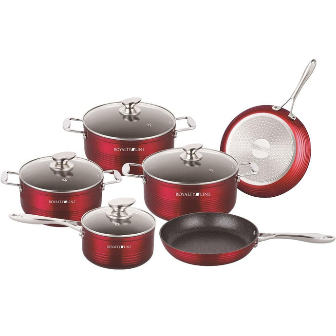 Royalty Line 10-Piece Marble Coating Cookware set - Shiny Red