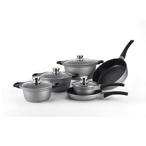 Royalty Line 10-Piece Marble Coating Cookware Set RL-FS1010M-Silver