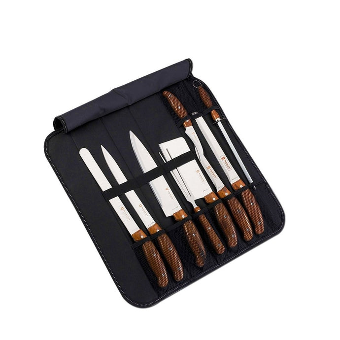 Royalty Line 9 Piece Stainless Steel Knife Set with Bag - Brown