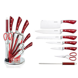 Royalty Line 8-Piece Stainless Steel Knife Set with Stand - RL-KSS810 Burgundy