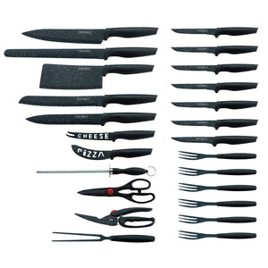 Royalty Line 24 Piece Marble Coating Knife Set - RL-MB24B - Black