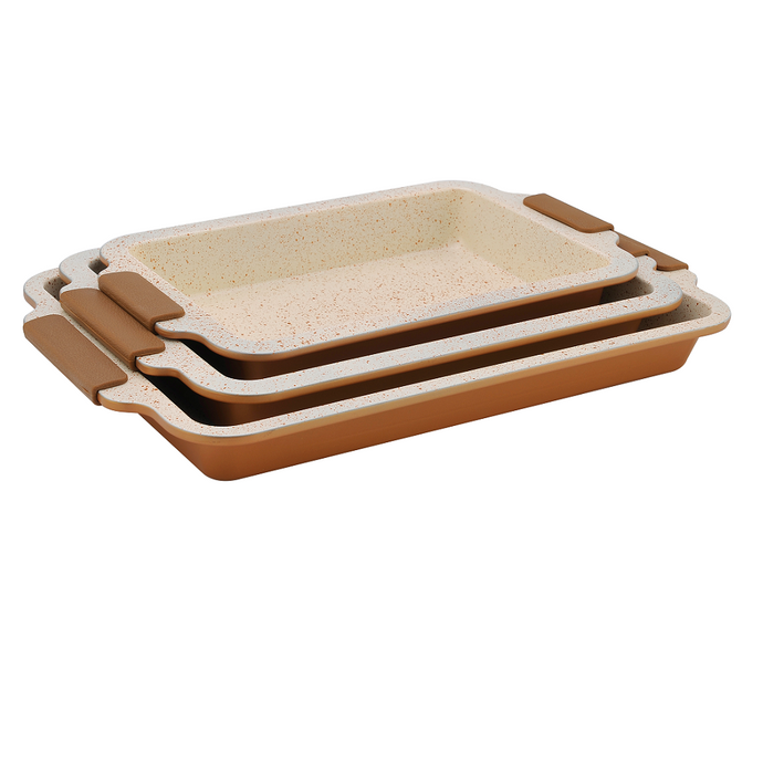 Royalty Line 3-Piece Marble Coating Roasting Pan Set - RL-MCC3 - Copper
