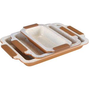 Royalty Line 3-Piece Marble Coating Baking Tray Set - RL-MM3