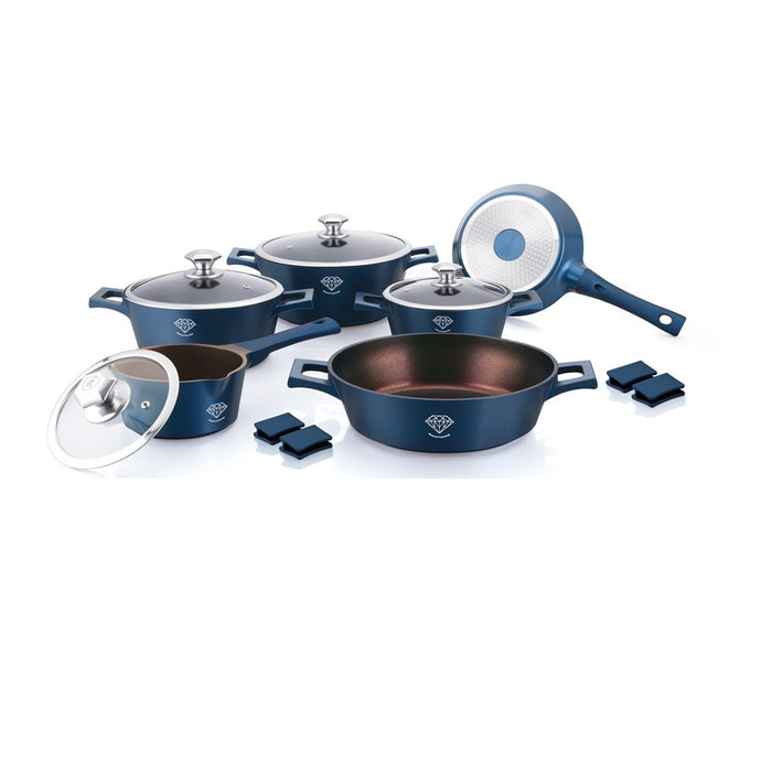 Royalty Line 14-piece Diamond Coating Cookware Set - Blue