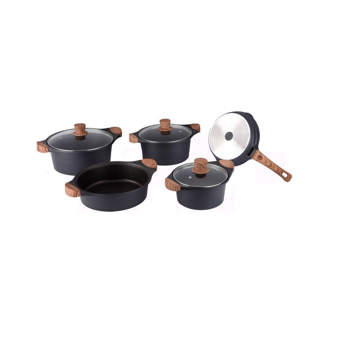 Royalty Line 10-piece Marble Coating Cookware Set - Black