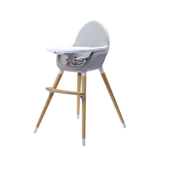 Kinder Line Beechwood Baby and Toddler High Feeding Chair - Grey