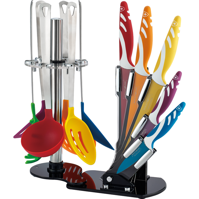 Royalty Line 12-Piece Non Stick Coating Knife Set with Stand