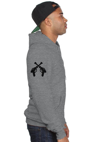 RAYGUN Pocket Print with DoubleGuns on the Sleeve Tri-Blend ZIp Up Hoody