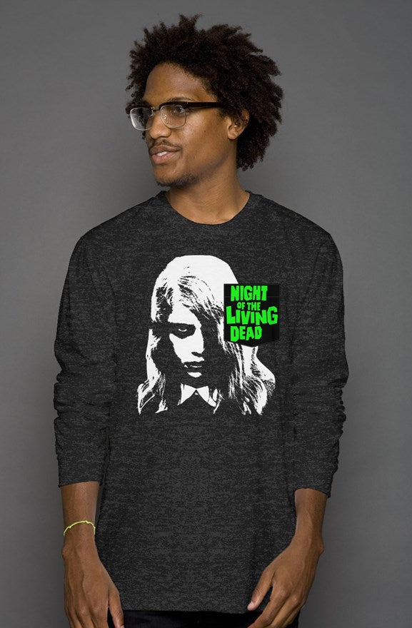 Night of the Living Dead Zombie Girl Pocket Heather Long Sleeve Shirt