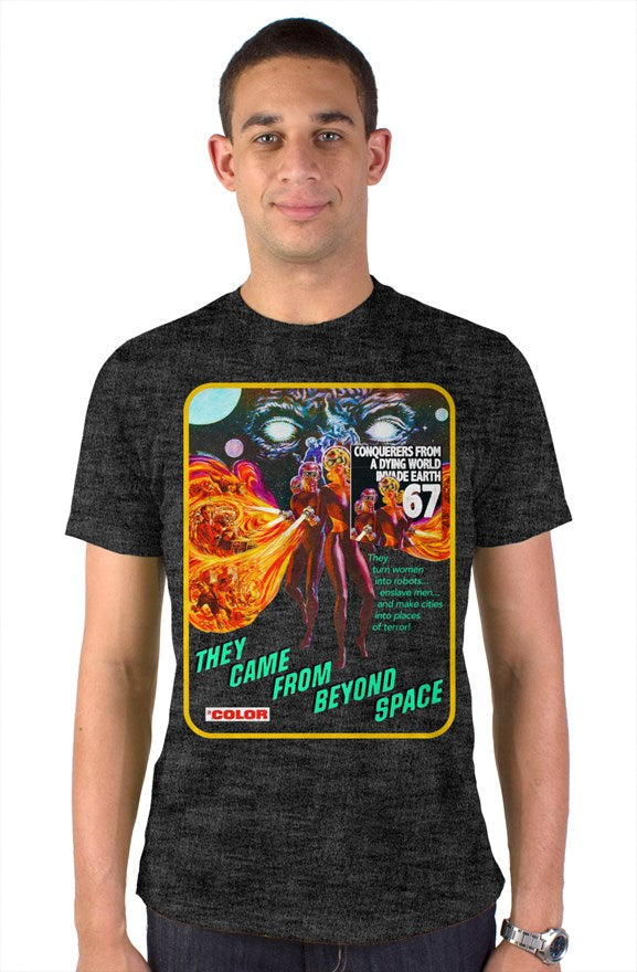 The Came From Beyond Space 1967 Vintage Heather Blend Pocket T-Shirt