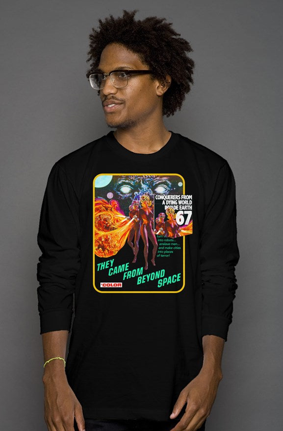 The Came From Beyond Space 1967 Vintage Heather Blend Pocket Long Sleeve T-Shirt