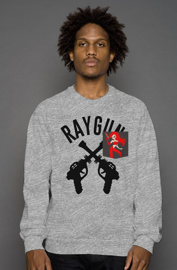 RAYGUN DoubleGuns RayGun Girl Old School Grey Heather Blend Pocket Sweatshirt